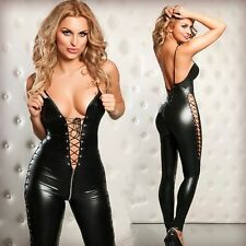 SIZE S-L sexy Gothic Punk Wetlook Overall Catsuit Costume Romper Teddy Clubwear