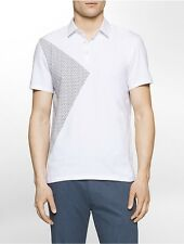 calvin klein mens ck one slim fit geometric polo shirt
