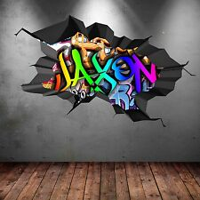 FULL COLOUR PERSONALISED 3D GRAFFITI NAME CRACKED WALL ART STICKERS DECAL MURAL