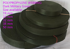 Military Green 19 25 32 38 50mm POLYPROPYLENE WEBBING STRAPPING,BAGS,STRAP,WEAVE