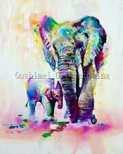 Handpainted Animal Abstract Lovely Elephant Art Oil Painting on Canvas 60x80cm