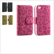 Luxury Leopard Flip Leather Card Wallet Stand Case Cover For Apple iPhone 4 4S
