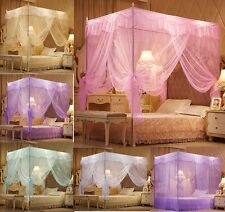 Princess 4 Corner Post Bedding Canopy Mosquito Netting Twin Queen King Sizes
