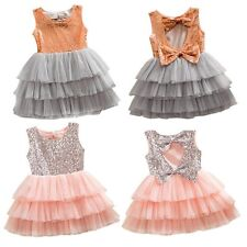 Vogue Girls Child Sweet Sequined Bow Party Pageant Wedding Tulle Tutu Cake Dress