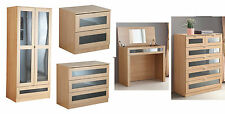 Modern Light Oak Bedroom Furniture Range, With Wardrobes, Chests, Bedsides
