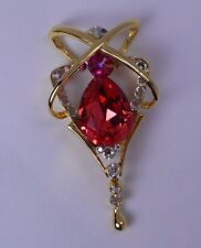 William Wang Red Orange Swarovski Crystal with Clear Accents in a Gold Finish