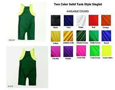 YOUTH SOLID TWO-COLOR TANK STYLE WRESTLING SINGLET SIZE 4,6,8,10,12  NWOT