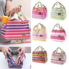 Portable Thermal Insulated Cooler Lunch Picnic Storage Case Pouch Stripe Bag