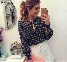 New Polka Dots Casual Round Neck Chiffon Blouses Summer Shirt Women Long Sleeve
