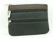 Real Genuine Leather 3 Zipped Wallet Ladies Soft Cotton Lined Purse Black Brown