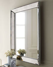 Wall Mirror with Silver Champagne Beaded Frame Modern Contemporary Design NEW