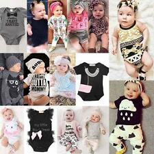 2pcs Newborn Toddler Infant Baby Boy Girl Clothes Tops+Pants Rompers Outfits Set