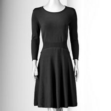 Simply Vera Wang Petite Fit & Flare Black Sweater Dress