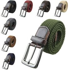 Mens Leather Casual Braided Elastic Fabric Stretch Cross Buckle Belts Waistband