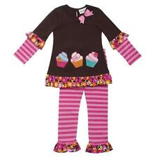 Rare Editions Birthday Cupcake Outfit Baby Girls Brown Pink Top Legging Set New