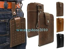 Retro Premium Leather Pocket Belt Holster Case Pouch Bag Cover For Cell Phone