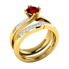 0.70 ct Ruby & White Sapphire Solid Gold Wedding Engagement Bridal Ring Set