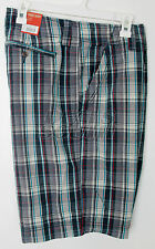 NEW Mens Mossimo Casual Shorts Flat Front Blue Plaid 28 30