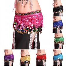 Newest Women Chiffon Belly Dance Scarf Ruffled Sequin Belt Skirt Tassel Hip Wrap