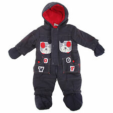 Baby Boys Baseball Dog Shell Hooded Winter Snowsuit/Romper With Mittens And Feet