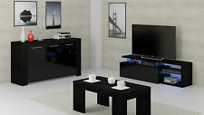 Zenia Living Room Furniture Range LED TV Media Unit Sideboard Coffee Table Black
