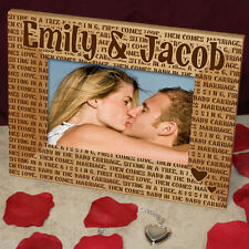 KISSING Romantic Engraved Wood Picture Frame Valentine's Day Anniversary GIFT