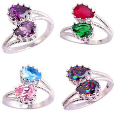 Women Chic Topaz Gemstone Pear Cut Silver Plated Finger Ring Jewelry Gift