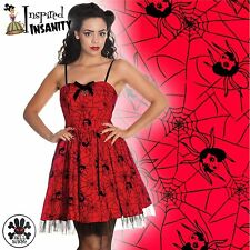 HELL BUNNY Mary Jane ~ Red Pinup Spider Mini Dress ~ Psychobilly Gothic Punk