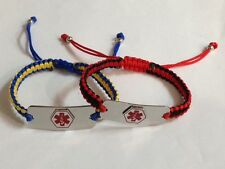 Medical ID Bracelet Stainless Steel for engrave with cord adjustable