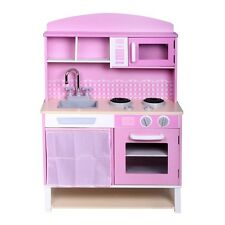 Kids Fun Girls Wooden Kitchen Pretend Play Set Pink