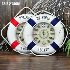 35cm Seaside Nautical Life Buoy Clock Flotation Ring Wall Hanging Decor Red/Navy
