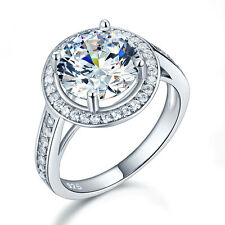 925 Sterling Silver Wedding Engagement Ring Halo 3.5 Ct Created Diamond FR8235