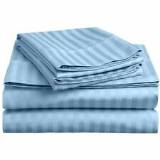 Complete Bedding Item 100% Pima Cotton 600TC LT. Blue Striped Choose Size & Set