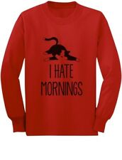 I Hate Mornings Lazy Cat Funny Youth Kids Long Sleeve T-Shirt Gift Idea