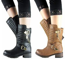 LADIES WOMEN QUILTED GOLD BUCKLE BIKER RIDING ANKLE COMBAT ARMY BOOT SIZE3-8