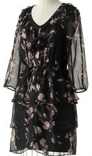 NWT~LAUREN CONRAD LIghtweight Tiered Ruffle Chiffon Dress~Black Floral~Size 6