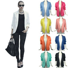 Fashion Candy Color Womens Casual Slim Fit Solid Suit Blazer Jacket Coat Outwear