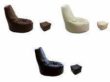 Beanbag Arm Chair Adult GAMING Bean Bag Faux Leather Game XL Seat with Footstool