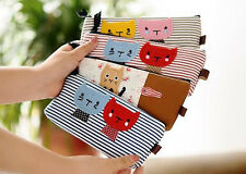 Lovely Cat Pencil Pen Case Box Cosmetic Pouch Pocket Brush Holder Makeup Bag ATM