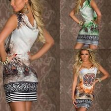 Sexy Print Flower Feather Dress Chain Women Dress Mini Retro Sleeveless