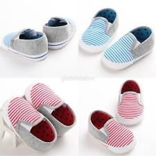 Baby Toddler Infant Girl Boy Star Striped Sole Prewalker Crib Shoes 0-18 Months