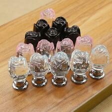 Crystal Glass Rose Flower Cabinet Cupboard Drawer Wardrobe Knob Pull Handle 20mm