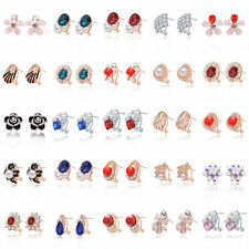 2016 Newest Hot Women Silver/Gold Plated Crystal Rhinestone Clip Danger Earrings