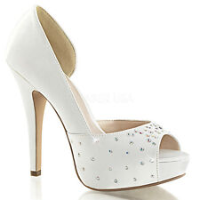 "Women's 5"" Heel 1"" Hidden Platform Peep Toe D¡¯Orsay Pump-IVORY SILK SATIN"