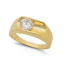 Men's Classic Deep Bezel Set Heavy 14kt Plated Yellow Gold CZ Solitaire Ring