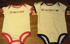 Infant Boys Girls Carters Brand Little Sister or Brother onesis Size 9 12 18 M