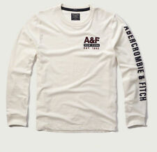NWT Abercrombie & Fitch Men Long Sleeve Logo Graphic T Shirt Top Cream