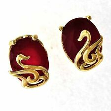 Gorgeous 18K Yellow Gold Filled Purple CZ Red Ruby Womens Swan Stud earing