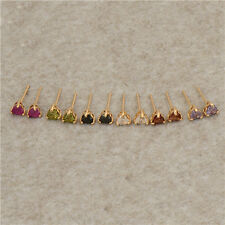 Lovely 14K Yellow Gold Filled Colorful CZ girls Heart gold Stud earing