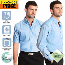 Mens Blue Oxford Shirts Teflon Casual Office School Cotton Polyester Work Shirt